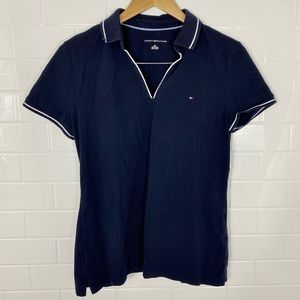 TOMMY HILFIGER Navy Blue V-Neck Collared Polo